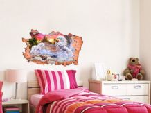 FULL COLOUR Unicorn Smashed Wall Art, 3D Sticker, Decal,Transfer